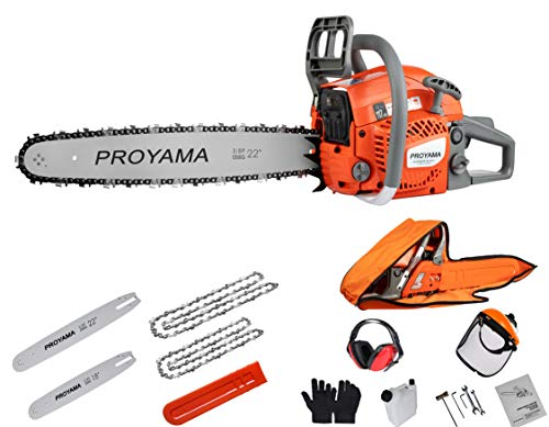 PROYAMA 62CC Cutting Performance 2-Cycle Handheld Gas Powered Chainsaw 18-Inch Gasoline Chainsaw 22-Inch with Carrying Case Emission Only 50CC with EPA Tech Powerful Environmental
