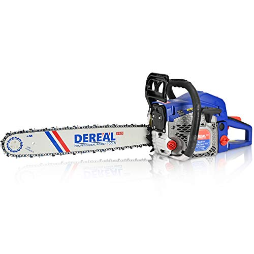 DEREAL Pro 62cc-Gas Chainsaw-20 Inch Bar Gasoline-Power Chain Saws 2-Cycle Automatic Chain Oiler Garden Tool for Trees Cutting Outdoor Home Farm Use
