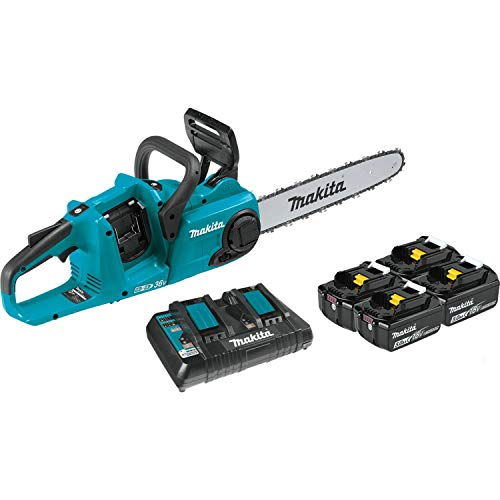 """Makita XCU03PT1 18V X2 (36V) LXT Lithium-Ion Brushless Cordless 14"""" Chain Saw Kit with, 4 Batteries (5.0Ah) , Blue"""