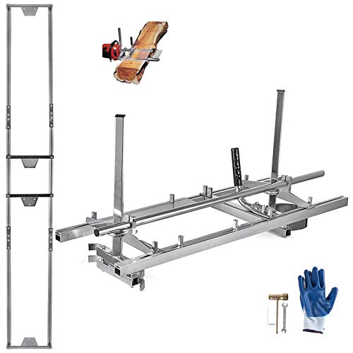 Hihone Chainsaw Mill, Portable 14Inch to 36Inch Guide Bar Chainsaw Milling Planking Milling Wood Lumber Cutting Sawmill, with 9Ft Rail Mill Guide System