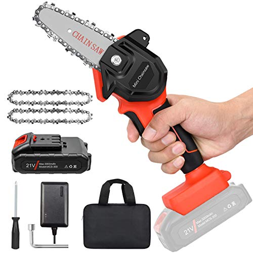 """Mini Cordless Chainsaw Kit, Upgraded 4"""" One-Hand Handheld Electric Portable Chainsaw, 21V Rechargeable 3000mAh Battery Operated, for Tree Trimming and Branch Wood Cutting by New Huing"""