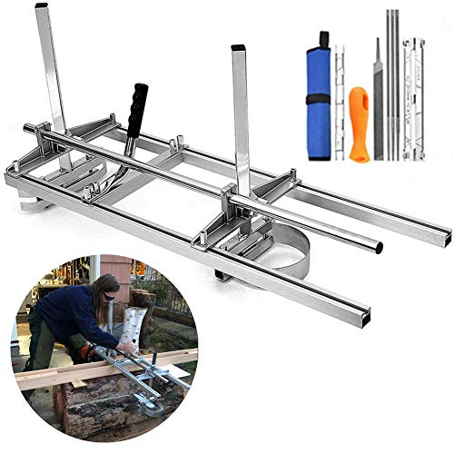"""Chainsaw Mill, Portable Planking Milling 14 to 36 Inches Guide Bar Wood Lumber Cutting Sawmill with Chainsaw Sharpener File Kit & Work Gloves for Builders and Woodworkers (14"""" - 36"""")"""